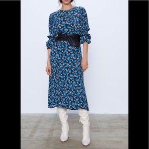 ZARA blue floral printed midi dress S